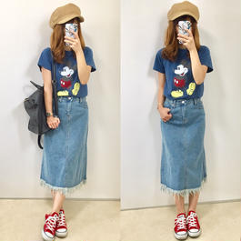 【送料無料】かすれミッキーTシャツ◆blue