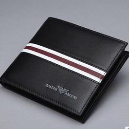 メンズ 二つ折り財布 牛革 ブラック ライン