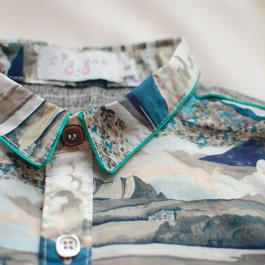 liberty piping shirt/wave(S 100cm)