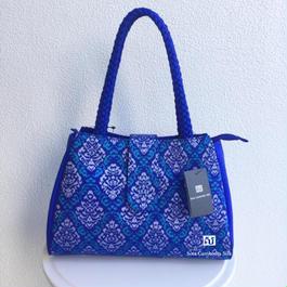 ソウタカンボジアシルク カンボジアシルクバッグ シルクバッグ 絣バッグ ハンドメイド 手織り ブルー 軽いバッグ ファッション 着物 紬 ダマスク 更紗