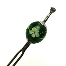 トンボ玉簪 常磐緑