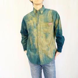 渦コーデュロイシャツ  Lサイズ ザクロ染めベース×藍染まだら