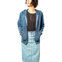 ジップアップパーカー  藍染×煤(すす)染