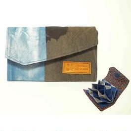 【受注製作】渦カードケース 藍染×すす染め