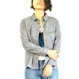 渦シャツ  レディース Mサイズ パッチアート  (藍染レザー)