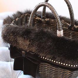 シンプルリボンカゴバッグSサイズ ブラック