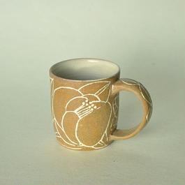 つばき象嵌マグカップ