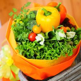 黄、オレンジ色の華やかな野菜ブーケ(クール便送料無料)