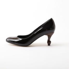 ちゃけちょけ 猫脚7cmヒールパンプス エナメル本革BLACK
