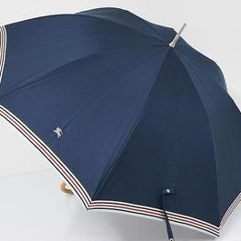 S0551 BURBERRY バーバリー 晴雨兼用日傘 USED超美品 ボーダー+ホースマーク UV 57cm 中古 ブランド
