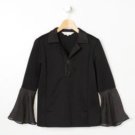 オープンカラーフレア袖トップス(ブラック)