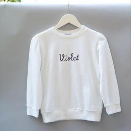 Violet sweatshirts/ White