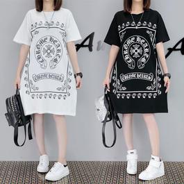 夏★ 可愛いワンピース 人気ロングTシャツ クロムハーツ風 デカサイズあり