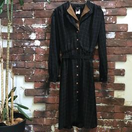 LADIES  L/S  BLACK × BROWN  DRESS