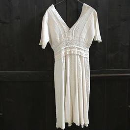 LADIES COTTON OFFWHITE DRESS