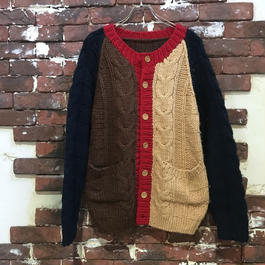 CRAZY PATERN CABLE KNIT CARDIGAN