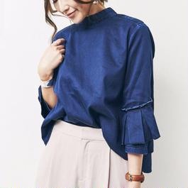 #パンツスタイルが上品にきまるボウブラウス 品番:1117604 カラー:ミッドナイト