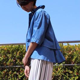 #クロプトパンツに馴染むポロネックブラウス 品番:1117600 カラー:サニー