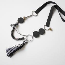 ornament long necklace BLACK