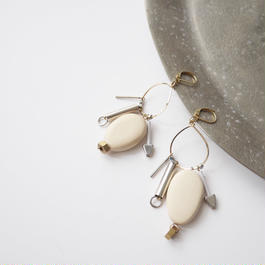 metal wood pierce/earrings BEIGE