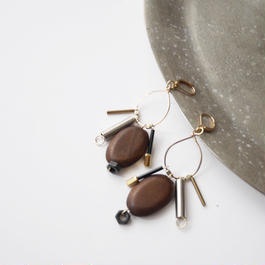 metal wood pierce/earrings BROWN