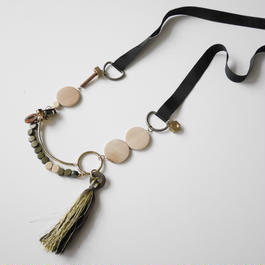 ornament long necklace BROWN