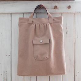 レトロな帆布バッグ(縦型・ピンクベージュ)