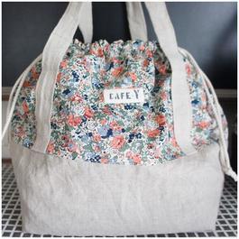 巾着BAG(ベージュ×Claire-Aude)