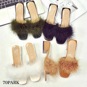 # Fur Slippers Open Toe Slide Sandals ファー スリッパ サンダル 全4色  ミュール
