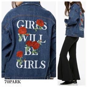 #Rose Embroidered Denim Jacket  ローズ  刺繍 デニムジャケット Gジャン ブルゾン