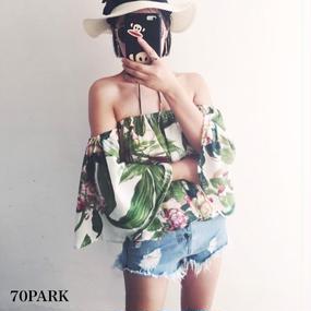 #Tropical Print Off The Shoulder Tops   トロピカル柄 オフショル ボリューム トップス