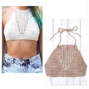 #Crochet Halter Crop Top2 クロシェ ホルターネック クロップトップ カバーアップ 2色