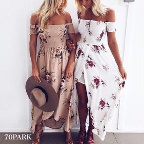 # Floral Off The Shoulder Maxi Dress   花柄 オフショルダー マキシ ワンピース 全2色 ロング