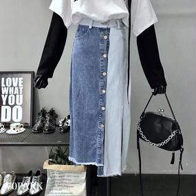 #Patchwork Denim Skirt パッチワーク デニム スカート スリット入り ブルー