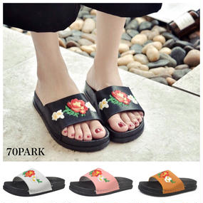 #Floral Embroidered Slide Sandals フラワー 刺繍 シャワーサンダル 全4色 スリッパ  花柄