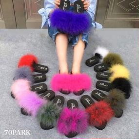 #Mix Color Fur Sandals ミックス カラー ファー サンダル 全16色 スリッパ
