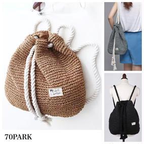 #Straw Backpack ストロー素材 バックパック 全3色 かごバッグ リュック