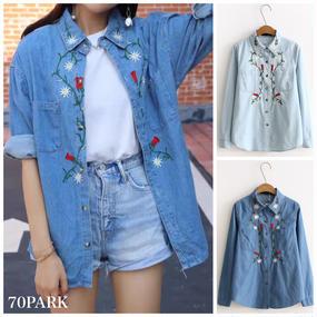 #Floral Embroidered Denim Shirt  フラワー 刺繍入り デニムシャツ  全2色 ブルー