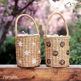 #Smile Embroidery Basket Bag スマイル & 星 刺繍 かごバッグ 全2タイプ  バケツバッグ