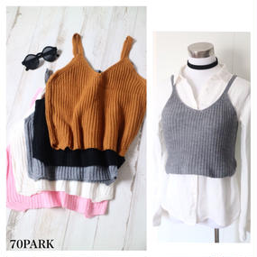 #V-Neck Knit Cami Crop Topニット キャミソール ビスチェ