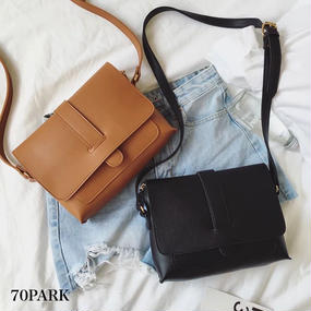 #Simple Leather Shoulder Bag シンプル PUレザー ショルダーバッグ 全2色