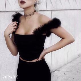 #Fur Strap Cropped Camisole  ファー ストラップ クロップド キャミソール ブラック