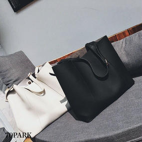 # Pu Leather Tote Bag ポーチ付 大容量 トートバッグ  全4色 マザーズバッグ A4