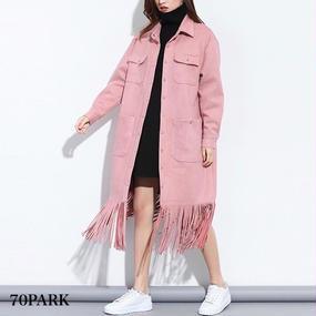 #Long Fringe Shirt Dress ロング フリンジ シャツ ワンピース ピンク アウター