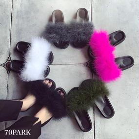 #Volume Fur Slide Sandals ボリューム カラー フェイクファー サンダル 全5色  スリッパ