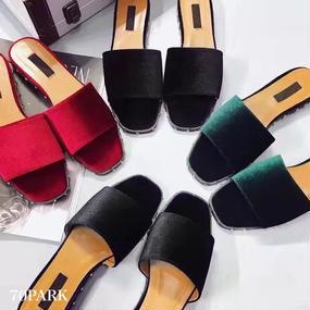 #Velvet Slipper Sandals  スタッズ付 ベロア スリッパ  全3色 サンダル ペタンコ