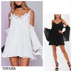 #Flare Sleeve Strap Dress   フレアスリーブ ストラップ ワンピース 全2色 袖コン プリーツ レース