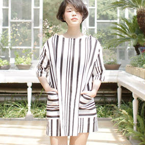 △10%off△random stripe box one piece