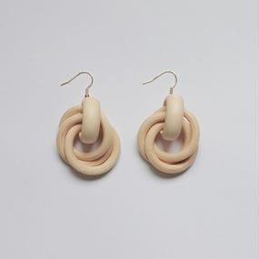-2 colors - woody rings pierced earrings
