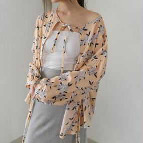flower PT lace up blouse